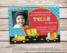 Little Boy's Cars, Trucks & Polka Dots Themed Birthday Party Printable Invitation. $10.00, via Etsy.