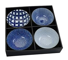 Japan Porzellan Set 4 Schalen - Suppen- / Nudel- / Reisschale - ToKYO Design