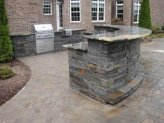 Bar & Grille Photo Gallery Water feature and patio with an outdoor fireplace! I searched for this on /imagesWater feature and patio with an outdoor fireplace! I searched for this on /images Grill Bar, Patio Grill, Grill Station, Backyard Kitchen, Outdoor Kitchen Design, Outdoor Kitchens, Backyard Bar, Backyard Seating, Outdoor Cooking