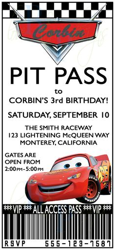 Cars Pit Pass  Birthday Invitation by lovebandpdesigns on Etsy.  Laura customized it for Kell's birthday party.