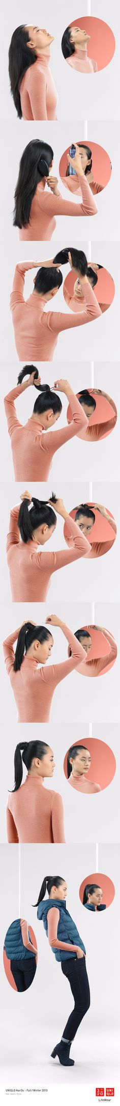 """THE LILY PONY"" : This easy ponytail is perfect on a breezy day with our ultra light down vest.   Click on the image to check DIY instructions! #Ponytail #Hair #Hairstyle #DIY #UNIQLO #HairDo"