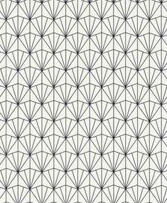 Zwart geometrisch patroon op een wit behang Rasch 439014 E - Behang met grafische patronen