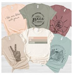 Graphic Tee Style, Graphic Tee Outfits, Cool Graphic Tees, Christian Tee Shirts, Christian Clothing, Tees Graphiques, Shirt Designs, Graphic Sweatshirt, T Shirts For Women