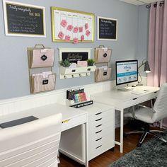 Gold Office, Office Desk, Wall Organization, Pink And Gold, Corner Desk, Ikea Wall, Diy, Furniture, Organizers