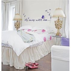 This whimsical wall quote of the words fly away with me, makes a super sweet room accent
