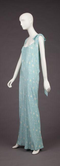 Dress, light blue and white floral silk bias cut, Halston, 1970-1980, Goldstein Museum of Design, Saint Paul, Minnesota