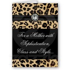 Elegant Leopard Jewel Mother's Day Personalized Greeting Card