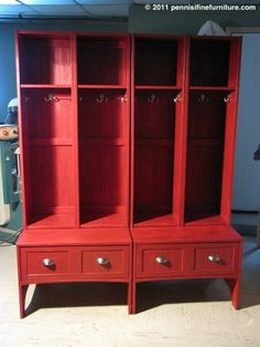 What about something like this to go in the mudroom area for the kids?  If you found the right china cabinet, all you'd need to do is take off the doors and add coathooks.
