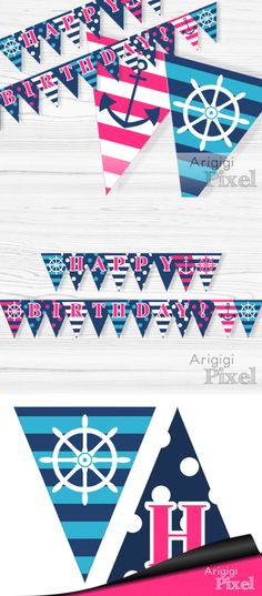 #Happy #Birthday Pink #Nautical #Garland - Beach Party Banner - Girl's Birthday Banner - Anchor and Ship Wheel - Pink White Blue http://etsy.me/2AZEPFC #papergoods #blue #birthday #pink #beachpartybanner #pinkwhiteblue #shipwheelpennants #girlsbirthday #birthdaybanner