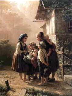 """""""The Rabbit Seller"""", by German artist - Johann Georg Meyer von Bremen (1813-1886), Oil on canvas."""