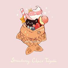 Doodle, Doodle, Doodle — Some kitty doodles! Cute Food Drawings, Cute Animal Drawings Kawaii, Kawaii Art, Cute Food Art, Cute Art, Chibi Food, Dibujos Cute, Kawaii Wallpaper, Cute Illustration