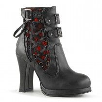 Demonia Crypto 51 Black Matt Ankle High Boots with Corset Style Side Lacing and Buckles