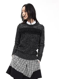 Mixed-Stitch Fringe Crew Pullover