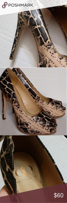 For the one and only...fashionista! Kelsi Dagger peep toe snakeskin platform pumps. Condition:  Worn only once, like new! Kelsi Dagger Shoes Heels