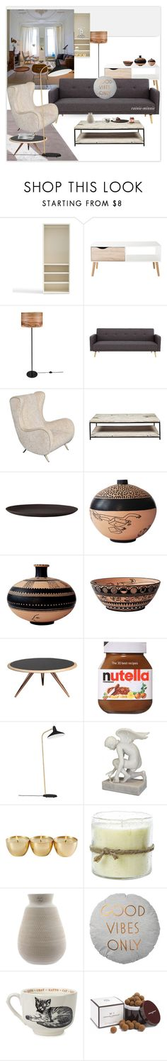 """""""Scandinavian Living Room"""" by rainie-minnie ❤ liked on Polyvore featuring interior, interiors, interior design, home, home decor, interior decorating, Pottery Barn, BYRON, Galzone and Viccarbe"""