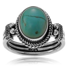 Journee Collection Sterling Silver Turquoise Oval Stone Ring (Size- 5), Green