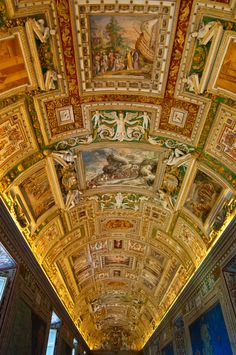 Gallery of Maps - hallway leading to Sistine Chapel, Vatican, Italy