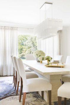 Alyssa Rosenheck: White Rectangular Tiered Chandelier With Modern White  Dining Table
