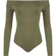 Abbigail Off Shoulder Bodysuit Leotard (£12) ❤ liked on Polyvore featuring intimates, shapewear, bodysuit and khaki