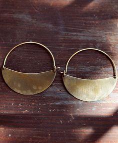 BACK IN STOCK: Lila Rice Crescent Hoops Brass = favorite earrings.