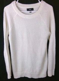 0beafc89908 Mossimo Waffle Knit Sweater White Acrylic Sz M Oversized Gold Thread  Crewneck AE