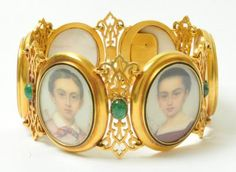 bracelet set with six portraits of children and emeralds