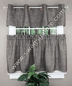 The Hudson Grommet Window Treatment styles your window with a classic yet refined look. Polyester/cotton window treatment is heavy boucle, two-tone, and textured. #Cafe #Tier #Curtains