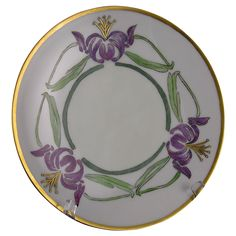 """Thomas Bavaria Arts & Crafts Floral """"Japanese Lily"""" Design Plate Signed """"M. Pierre""""/Dated 1914)"""