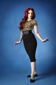 Cherrie Mae. Leopard top - pencil skirt. Classic.