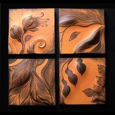 handmade, sgraffito-carved, ceramic wall art tile by Natalie Blake