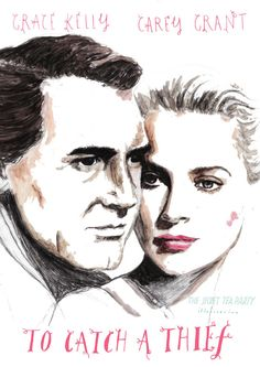 To Catch a Thief by Natasha Thompson drawing! Beautiful movie poster #carygrant #gracekelly
