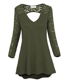 Another great find on #zulily! Olive Lace-Accent Cutout Tunic - Plus #zulilyfinds