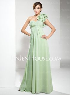 Evening Dresses - $113.99 - Empire One-Shoulder Floor-Length Chiffon Evening Dresses With Ruffle (017002586) http://jenjenhouse.com/Empire-One-Shoulder-Floor-Length-Chiffon-Evening-Dresses-With-Ruffle-017002586-g2586