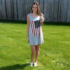 Show your American Pride in our Lady Liberty Tunic Dress.  This sleeveless American Flag Print Tunic Dress is perfect for summer!