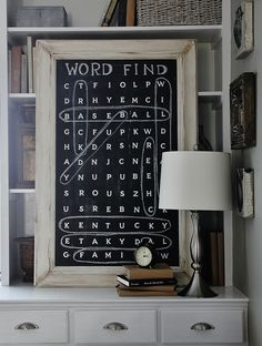 DIY Chalkboard Word Find - This would be a great decor idea for a b-day party, Christmas, any holiday or just for a fun, unexpected decor idea for any room in the house. Simple Wall Art, Diy Wall Art, Wall Decor, Easy Wall, Chalkboard Paint, Chalkboard Ideas, Large Chalkboard, Chalk Ideas, Chalk Wall