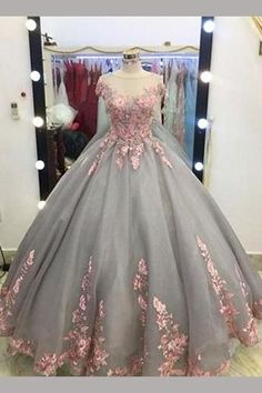 Gray Ball Gown Cap Sleeves Floor-length Pink Lace Appliques Prom Dress,Quinceanera Dresses,N483