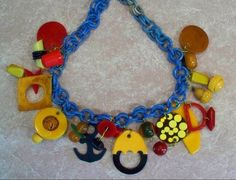 Bakelite Vintage charm Necklace,, Incredibly Fun