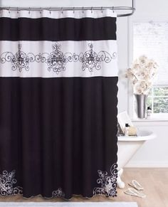Amazon.com: Homewear Ambrosia 70 by 72-Inch Shower Curtain, Black and White: Home & Kitchen