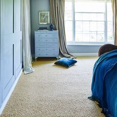 blue bedroom with natural carpet and painted furniture   The Best Place To Buy Designer Carpets At Budget Prices - WeLoveHome - Home Beige Carpet, New Carpet, Hygee Home, Carpet Fitters, Carpet Remnants, Alternative Flooring, Scandi Home, Natural Flooring