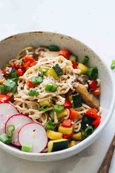 Creamy, savory Sesame Tahini Noodles (w/ Roasted Veggies) that are vegan, vegetarian, gluten free, and perfect for an easy weeknight dinner! (ad) This post is sponsored by Gluten Free Recipes For Dinner, Delicious Dinner Recipes, Whole Food Recipes, Vegetarian Recipes, Healthy Recipes, Vegan Vegetarian, Vegan Keto, Vegan Meals, Yummy Recipes
