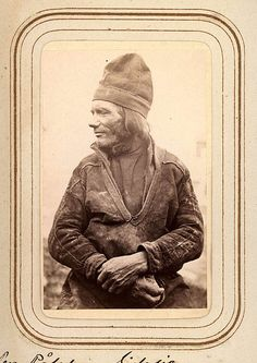 Profilporträtt av Per Pålsson Sjålsa, 60 år, Sjokksjokk. Ur Lotten von Dübens fotoalbum med motiv från den etnologiska expedition till Lappland som leddes av hennes make Gustaf von Düben 1868.