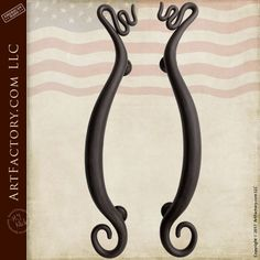 Squiggly Design Custom Fine Art Wrought Iron Door Pulls - HH051