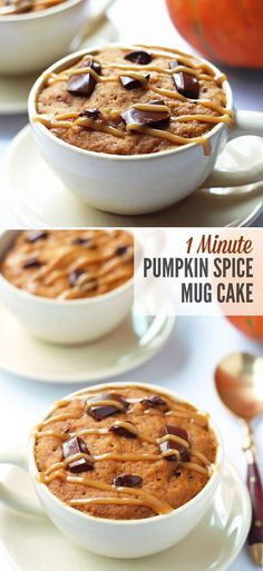 "This delicious pumpkin spice mug cake takes only 1 minute to ""bake"" in the microwave. It is moist (not rubbery) and requires no bowl to prepare."