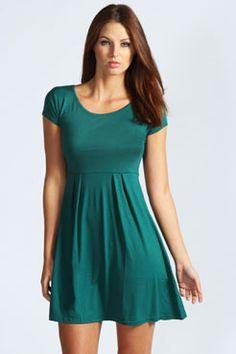 Claudia Jersey Cap Sleeve Skater Dress