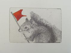 Original Etching of a squirrel with flaghand by Fleurografie, $10.00