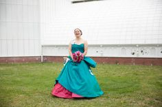 Dream Wedding Gown: Gorgeous bride Lavinia in her turquoise and hot pink wedding gown by Janice Martin Couture - www.janicemartin.net #hotpink #wedding #turquoise