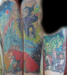 Extremely detailed Sleeping Beauty tattoo