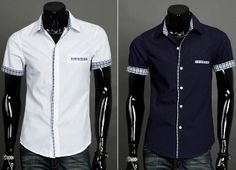 Mens Short Sleeve shirts with Plaid Details