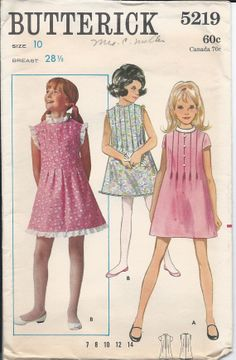 1960s Vintage  Girl's A-Line  Dress with TUCKS - Short or Sleeveless, Size 10