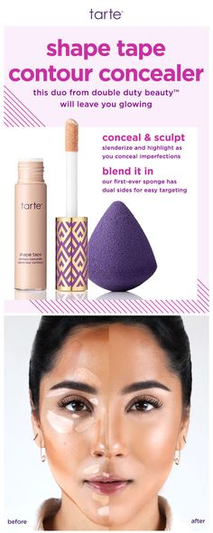 Conceal and sculpt to complexion perfection with our #tarteDDB shape tape contour concealer and quickie blending sponge! #tartecosmetics
